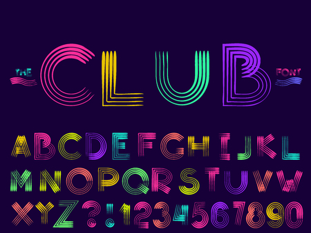 Set of vector modern abstract font and alphabet. Typography club style neon font set for logo, poster, invitation or clothing design. Illustration