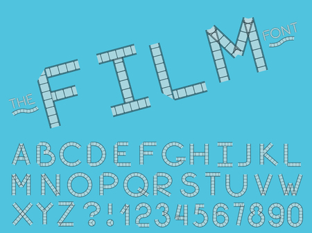 Set of vector modern abstract font and alphabet. Typography film style font set for logo, poster, invitation or clothing design. Illustration