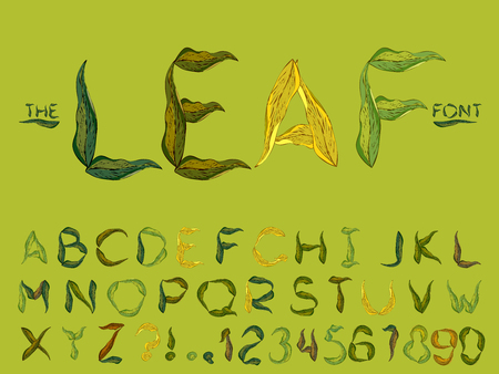 Set of vector modern abstract font and alphabet. Typography leaf style green font set for logo, poster, invitation or clothing design. Illustration