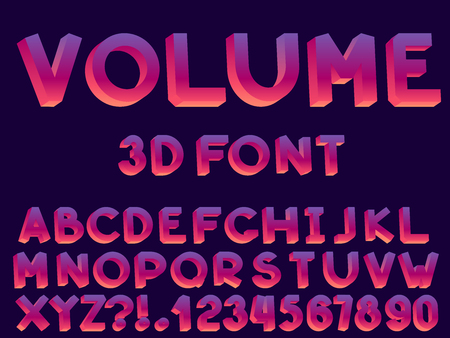 Set of vector modern abstract font and alphabet. Typography 3D style neon font set for logo, poster, invitation or clothing design.