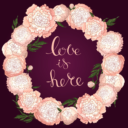 Vector peonies. Round frame of light pink flowers. Flower wreath on a burgundy background. Template for flower design, textile design, packaging or clothing.