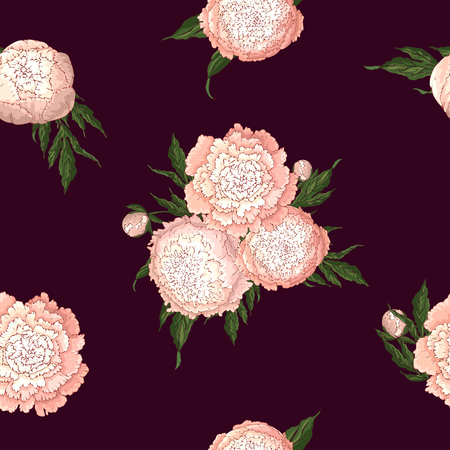 Vector peonies. Seamless pattern of light pink flowers. Bouquets of flowers on burgundy background. Template for floral decoration, fabric design, packaging or clothing