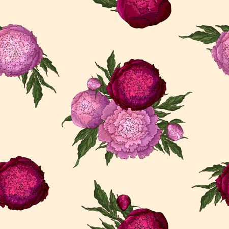 Vector peonies. Seamless pattern of pink-lilac and burgundy flowers. Bouquets of flowers on a beige background. Template for floral decoration, fabric design, packaging or clothing.