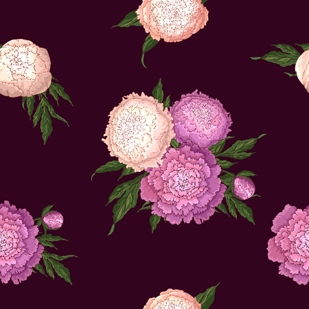 Vector peonies. Seamless pattern of pink-lilac and light pink flowers. Bouquets of flowers on a burgundy background. Template for floral decoration, fabric design, packaging or clothing.