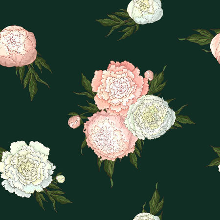 Vector peonies. Seamless pattern of white and light pink flowers. Bouquets of flowers on a dark green background. Template for floral decoration, fabric design, packaging or clothing.