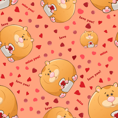 Vector seamless pattern with cute cartoon fat hamsters. Funny animals. Thick amusing beasts. Texture on pink background. Template for comic decor, fabric design, packaging or clothing Ilustrace