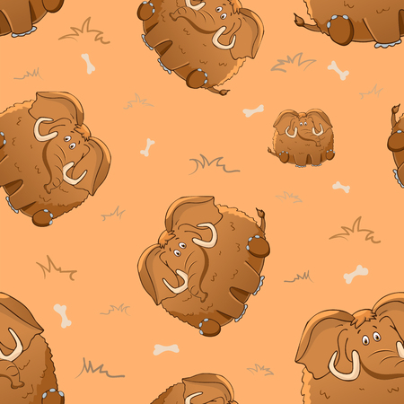 Vector seamless pattern with cute cartoon fat mammoth and bones. Funny animals. Thick amusing beasts. Texture on beige background. Template for comic decor, fabric design, packaging or clothing