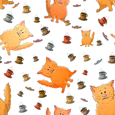 Vector seamless pattern with cute cartoon weird cats and cups of coffee. Funny animals. Texture on a white background. Template for comic decor, fabric design, packaging or clothes Stock Illustratie