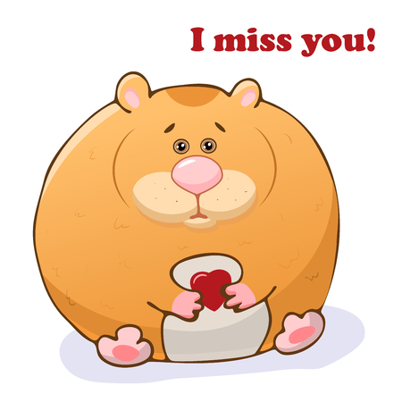 Vector funny animal. Cute hamster with a heart in his hands. Postcard with the phrase: I miss you. Cute little animal. Isolated object on white background.