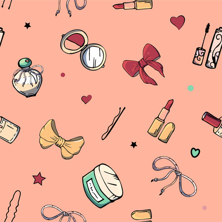 Vector seamless patterns with girls stuff. Fashion illustration with women's clothing, jewelry, cosmetics, gifts and romance. Actual vector drawing of cute things. Interests of a young girl.