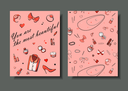 Set of hand drawn templates fashion cards with girls things, romantic objects and phrases. Postcards with women's clothing, jewelry, cosmetics and gifts. Actual vector drawing of lovely things. Illusztráció