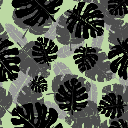 Vector seamless monochrome pattern of palm leaves and tropical plants. Exotic background for seasonal design. Ilustração