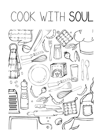 Hand drawn illustration with Kitchen Utensils. Actual vector drawing of coocking tools and quote. Creative doodle style ink art work. Kitchen set and text COOK WITH SOUL Vektorové ilustrace