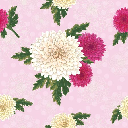 Vector chrysanthemum. Seamless pattern of golden-daisy flowers.  Template for floral decoration, fabric design, packaging or clothing. Polka dot background