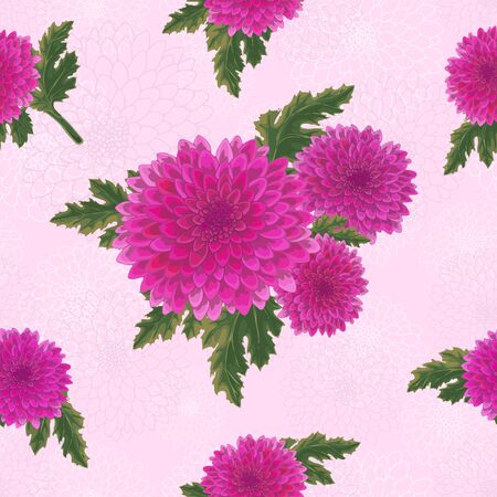 Vector chrysanthemum. Seamless pattern of golden-daisy flowers.  Template for floral decoration, fabric design, packaging or clothing. Ilustração