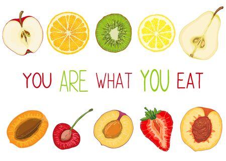 Carte o striscioni con immagini colorate di fette di frutta naturale e messaggio di testo. Elementi di schizzo disegnato a mano. Illustrazione vettoriale per poster Vettoriali