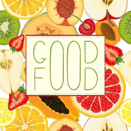 Cards or banners with colorful images of natural fruit slices and text message. Hand drawn sketch elements. Vector illustration for poster