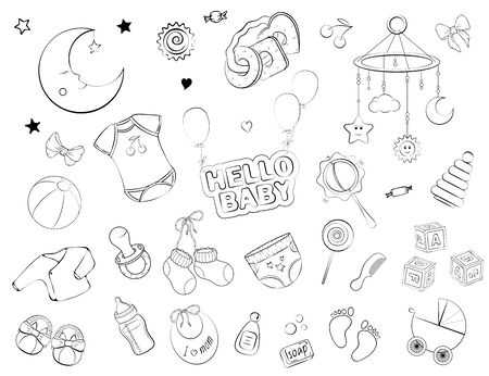Set of baby care items: feeding, clothing, toys, health care stuff, safety, furniture, accessories. Thin line icons of baby items. Vector isolated objekts, hand drawn Illustration. Black and white