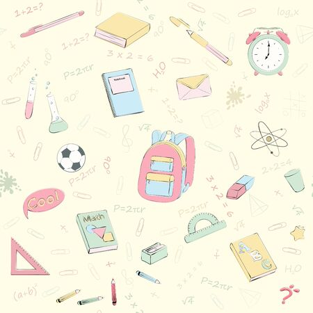 Set of multicolour vector seamless pattern with school supplies and stationery. Bundle of accessories for lessons, items for education of smart pupils and students. Colorful hand drawn illustration  イラスト・ベクター素材
