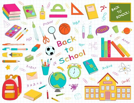 Vector set of multicolour school supplies and stationery. Bundle of accessories for lessons, items for education of smart pupils and students isolated on white background. Colorful hand drawn illustra