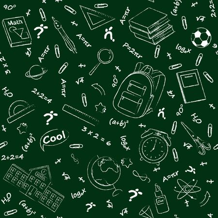 Set of monochrome vector seamless pattern with school supplies and stationery. Bundle of accessories for lessons, items for education of smart pupils and students. Linear hand drawn illustration