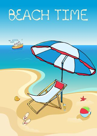 Vector card or banner with colorful funny doodle symbols for beach holiday and text message. Hand drawn sketch elements. Vector illustration for poster.