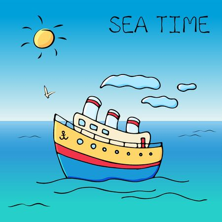 Vector card or banner with colorful funny doodle ship and text message. Hand drawn sketch elements. Vector illustration for poster.