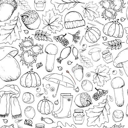 Patrón transparente de vector con objetos otoñales. Ilustración dibujada a mano monocromo lineal en estilo de dibujos animados.