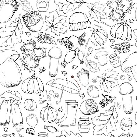 Vector seamless pattern with autumn objects. Linear monochrome hand-drawn illustration in cartoon style.
