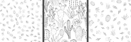 Vector seamless pattern with cacti. Linear monochrome hand-drawn illustration in cartoon style.