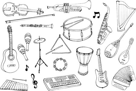Vector set of musical instruments. Cartoon monochrome isolated objects on a white background. Linear hand drawn illustration.