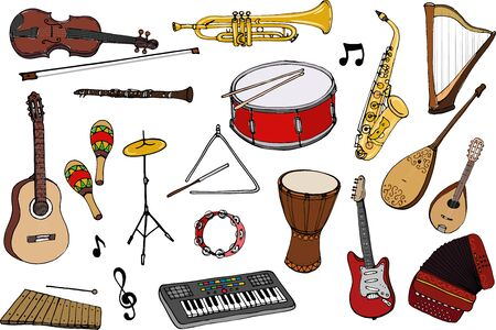 Vector set of musical instruments. Cartoon colored isolated objects on a white background. Multicolored hand drawn illustration.