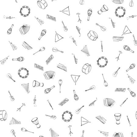 Vector seamless pattern of musical instruments. Linear hand drawn illustration in cartoon style. Illustration