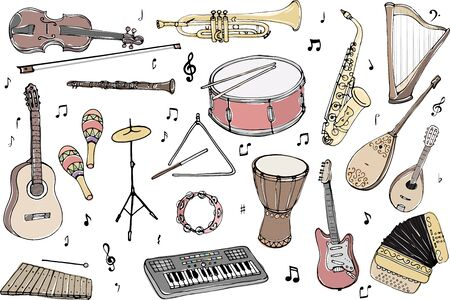 Vector set of musical instruments. Cartoon colored isolated objects on a white background. Multicolored hand drawn illustration. Stock Vector - 131621814