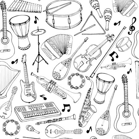 Vector seamless pattern of musical instruments. Linear hand drawn illustration in cartoon style. Ilustração