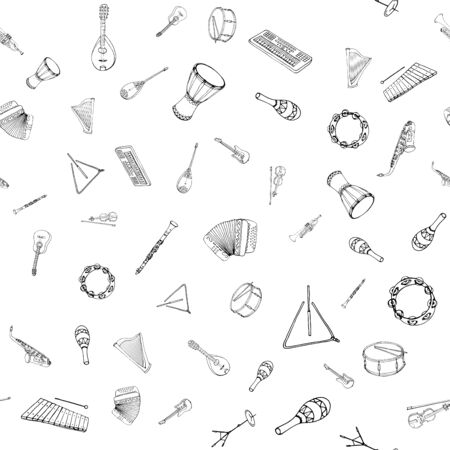 Vector seamless pattern of musical instruments. Linear hand drawn illustration in cartoon style. Иллюстрация
