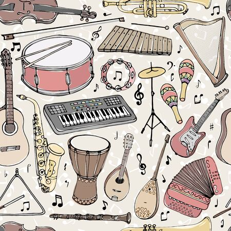 Vector seamless pattern with musical instruments. Multicolored hand drawn illustration in cartoon style.