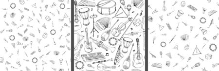 Reticolo senza giunte di strumenti musicali. Illustrazione disegnata a mano lineare in stile cartone animato. Vettoriali