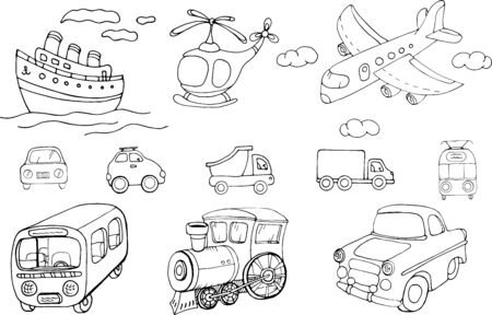 Vector set of transports. Cartoon monochrome isolated objects on a white background. Linear hand drawn illustration.