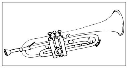 Tarjeta de felicitación de vector con trompeta. Objetos aislados monocromos de dibujos animados sobre un fondo blanco. Ilustración dibujada a mano lineal.