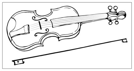 Vector greeting card with violin. Cartoon monochrome isolated objects on a white background. Linear hand drawn illustration.