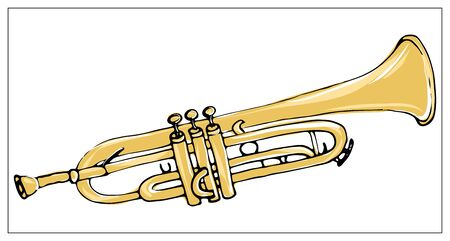 Vector greeting card with trumpet. Cartoon colored isolated objects on a white background. Multicolored hand drawn illustration.  イラスト・ベクター素材