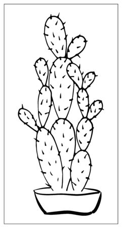Vector greeting card with cactus. Cartoon monochrome isolated objects on a white background. Linear hand drawn illustration.