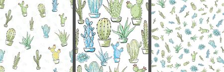 Vector seamless pattern with cacti. Multicolored hand drawn illustration in cartoon style. 스톡 콘텐츠