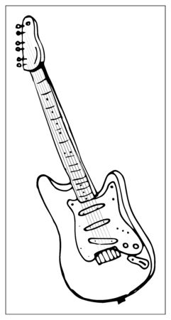Vector greeting card with guitar. Cartoon monochrome isolated objects on a white background. Linear hand drawn illustration. Иллюстрация