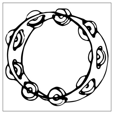 Vector greeting card with tambourine. Cartoon monochrome isolated objects on a white background. Linear hand drawn illustration.