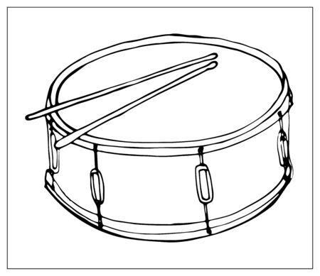 Vector greeting card with drum. Cartoon monochrome isolated objects on a white background. Linear hand drawn illustration. Иллюстрация