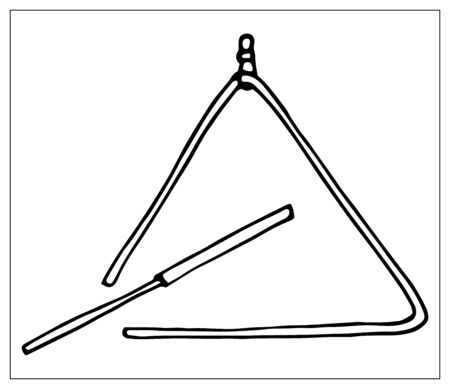 Vector greeting card with triangle. Cartoon monochrome isolated objects on a white background. Linear hand drawn illustration.