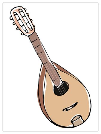 Vector greeting card with mandolin. Cartoon colored isolated objects on a white background. Multicolored hand drawn illustration.