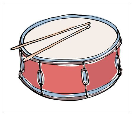 Vector greeting card with drum. Cartoon colored isolated objects on a white background. Multicolored hand drawn illustration.